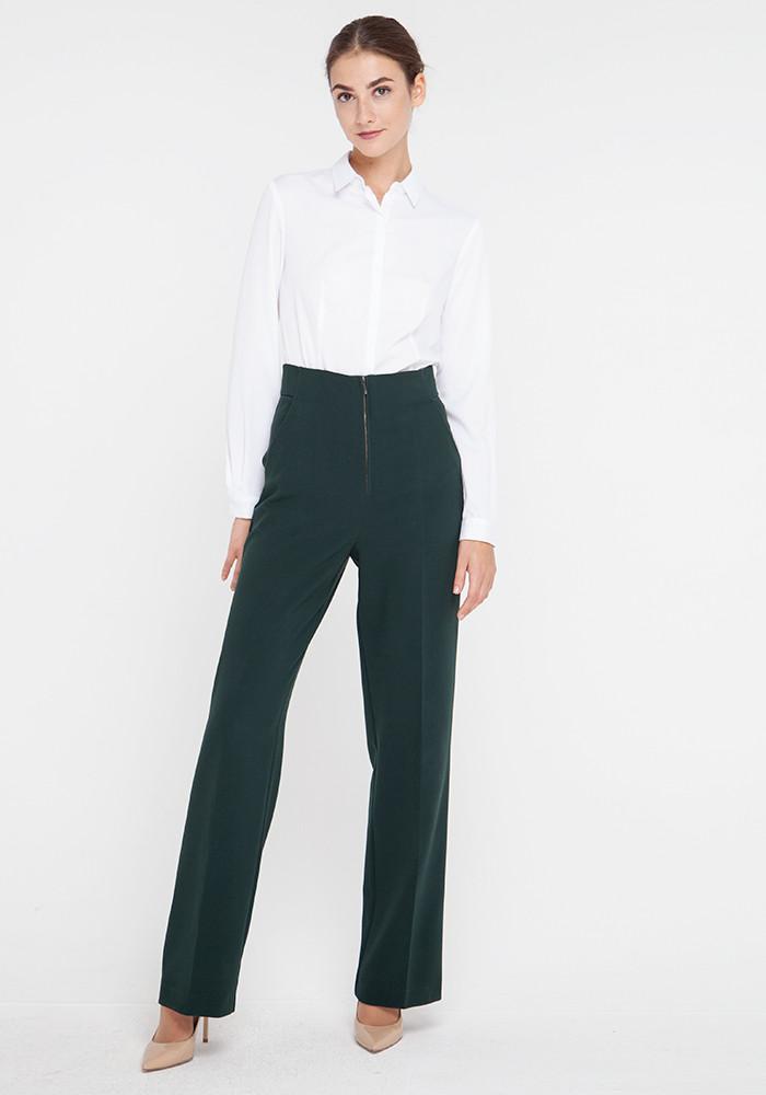 "Wide leg pants with a high rise ""Vegas"" malachite color"