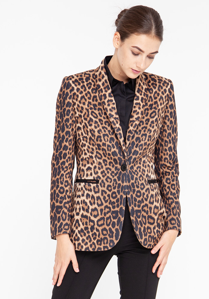 "Long jacket ""Maje-Noir"" in leopard print"