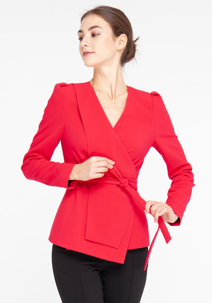 Crimson jacket with a wrap Palomo