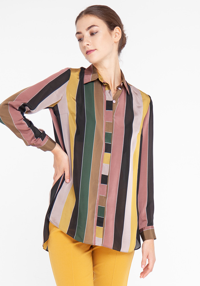 Bosso Long Sleeve Blouse With Striped Print