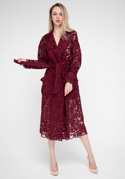 """Комплект: бордовый ажурный плащ-накидка и платье-футляр """"Мулан"""""""