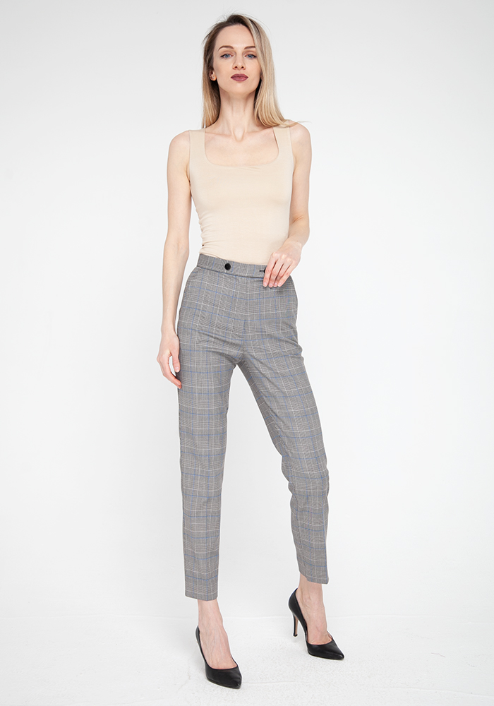 "Tapered ""Clint"" trousers with check print"