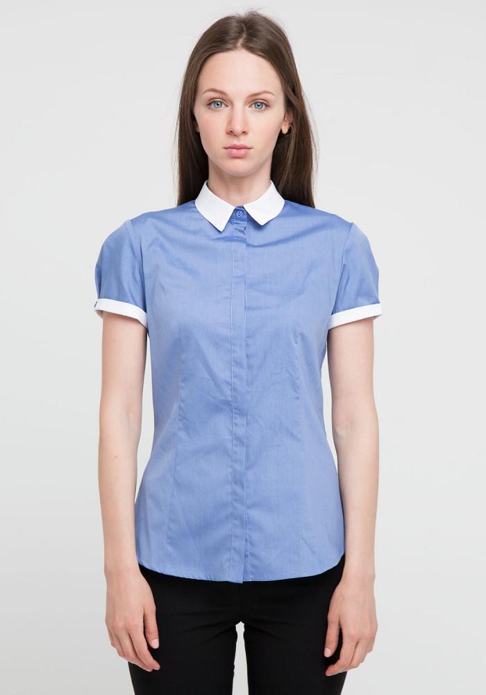 """Сорочка """"Чізано-2"""" блакитна із білим коміром"""