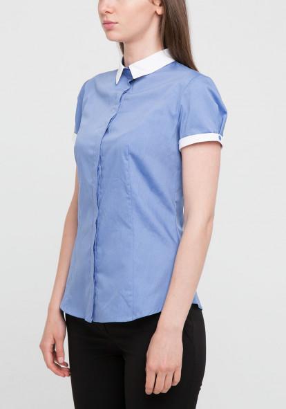 """Рубашка """"Чизано-2"""" голубая с белым воротом"""