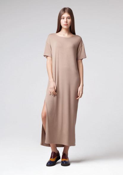 """Довга трикотажна сукня """"Дюна"""" кавового кольору"""