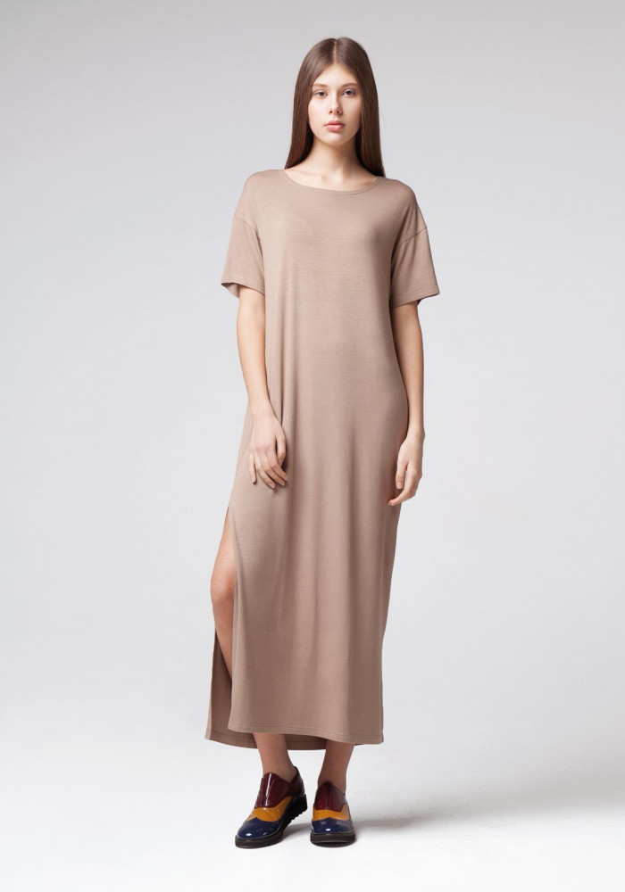 Long knitted dress coffee color Dune