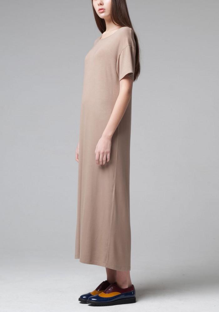 """Длинное трикотажное платье """"Дюна"""" кофейного цвета"""