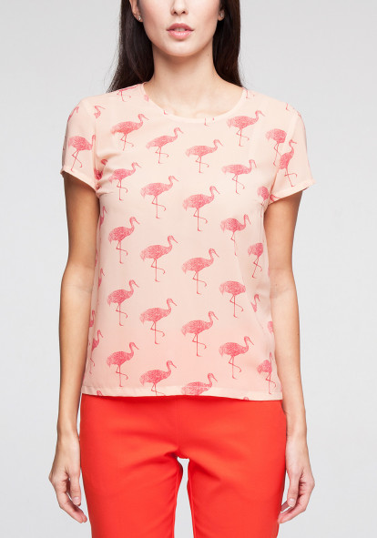 "Блуза с принтом в фламинго ""Амадеус"""