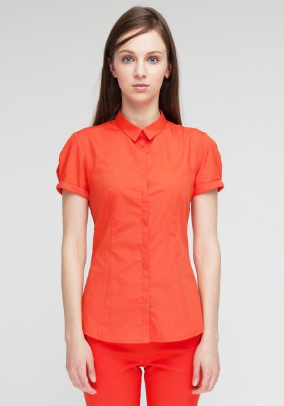 """Бавовняна сорочка """"Чізана-2"""" коралового кольору"""