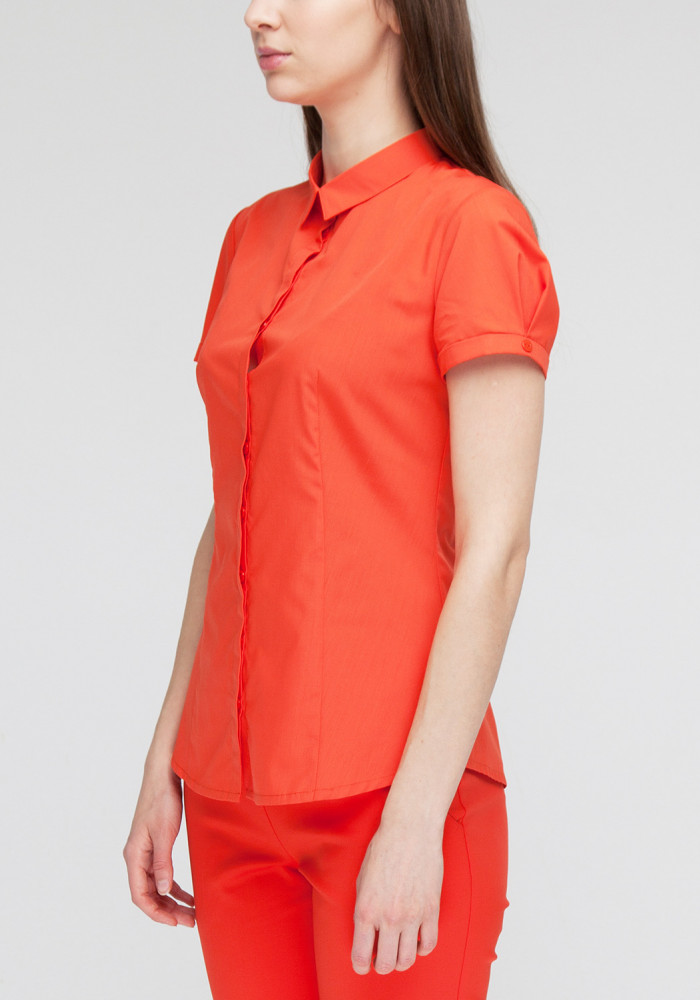 Cotton shirt  coral Chizana-2