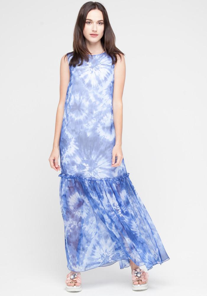 """Довга сукня """"Івет"""" синя із принтом"""