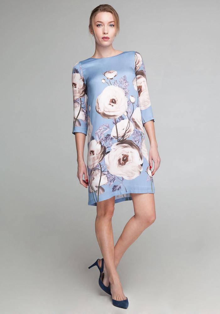 """Сукня """"Джина"""" блакитна із квітковим принтом"""