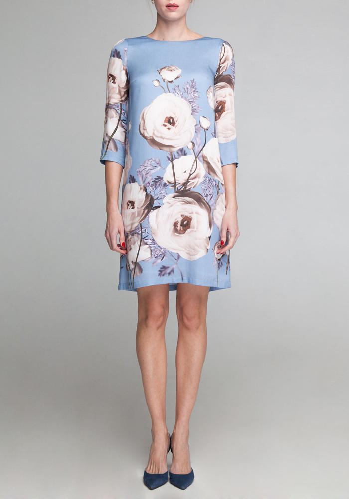 """Платье """"Джина"""" голубое с цветочным принтом"""