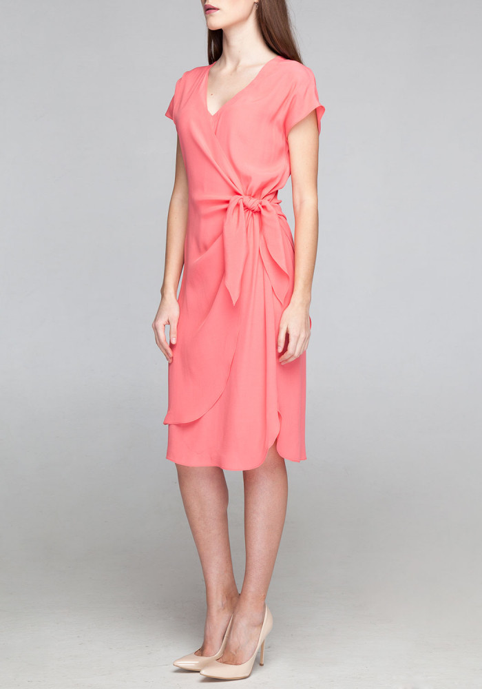Asymmetric dress coral with a bow Almira