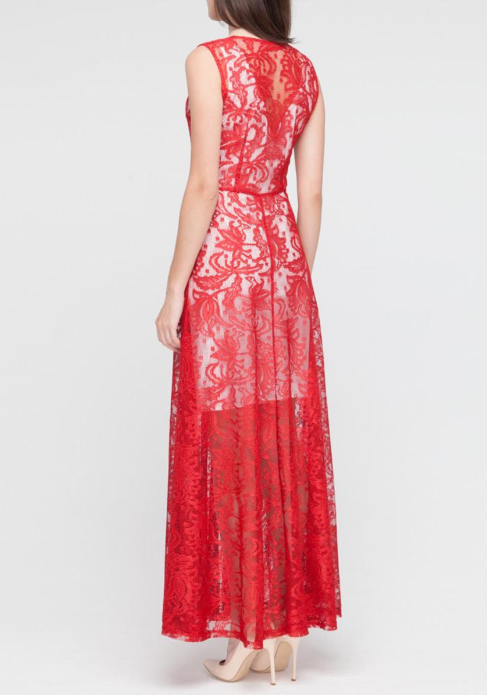 """Длинное кружевное платье """"Алекса"""" красное"""