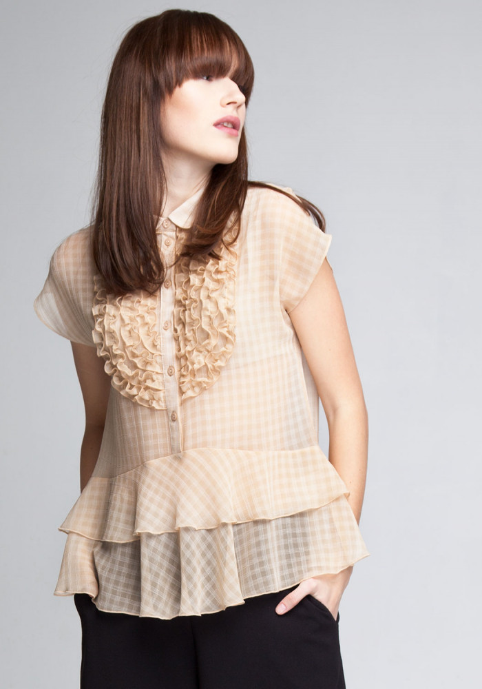 Blouse beige with frills Aren