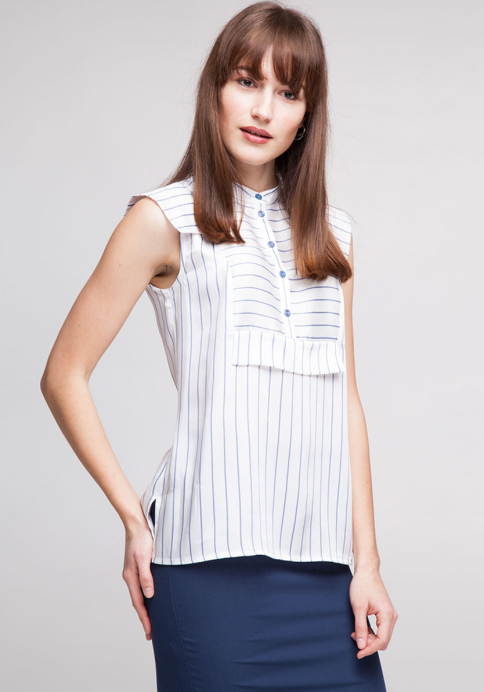Blouse in white with blue stripes Lolita
