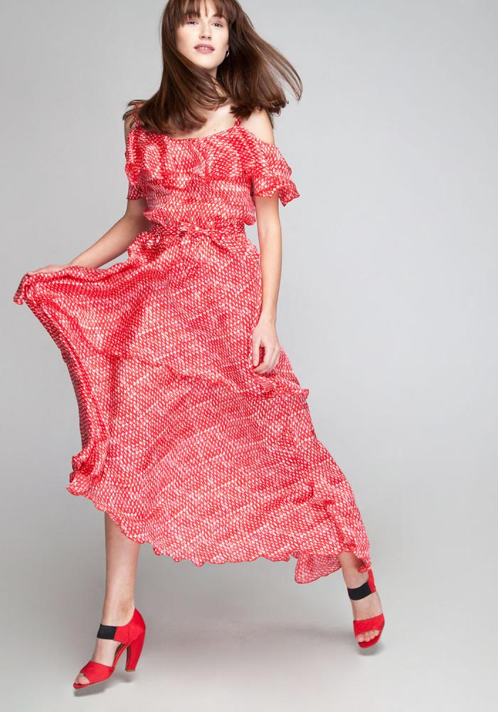 "Sundress silk red with frills ""Blair"""