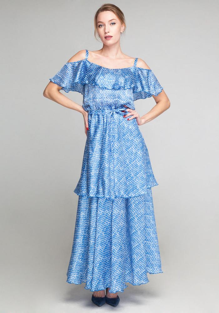 """Blue silk sundress with ruffles """"Blair"""""""