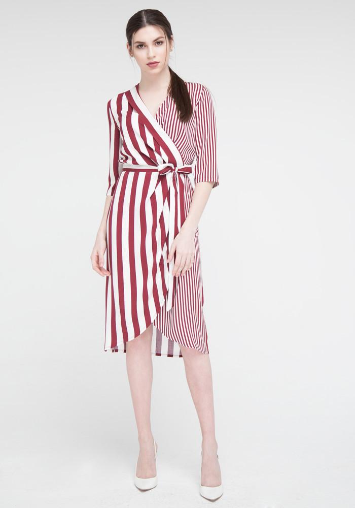 "Платье ""Амега"" бордо полоска"