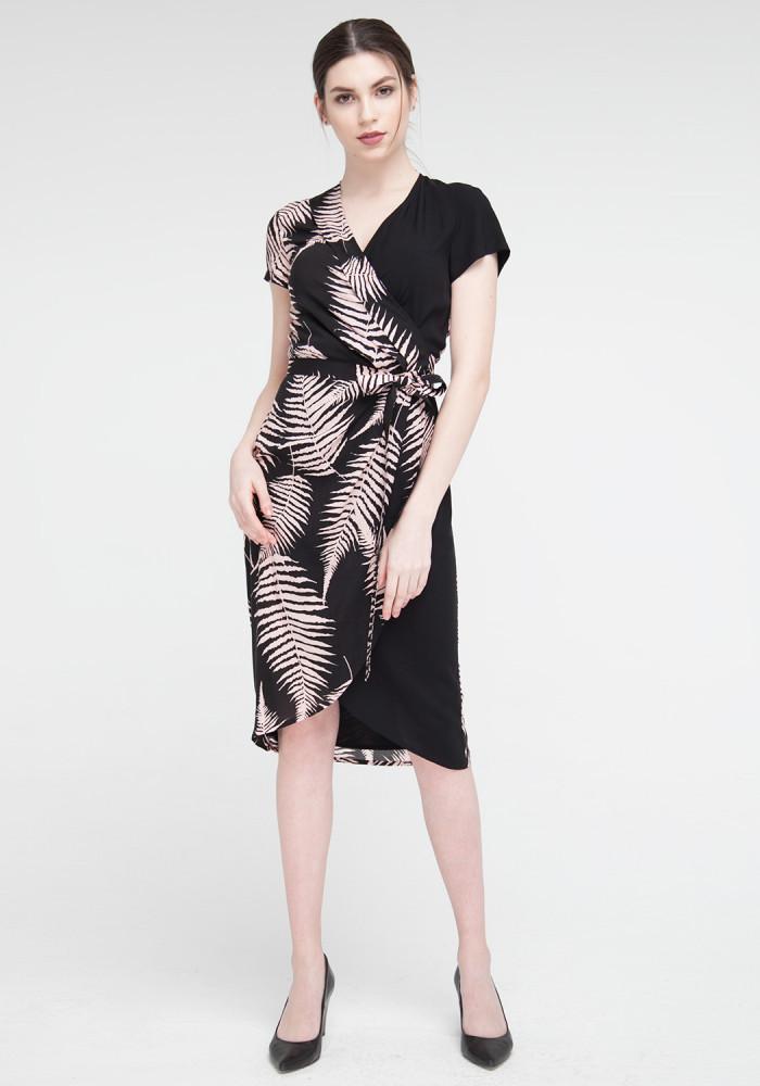 """Платье """"Амега"""" черное с принтом"""