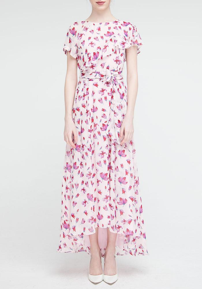 """Длинное платье розовое с цветочным принтом """"Венеция"""""""