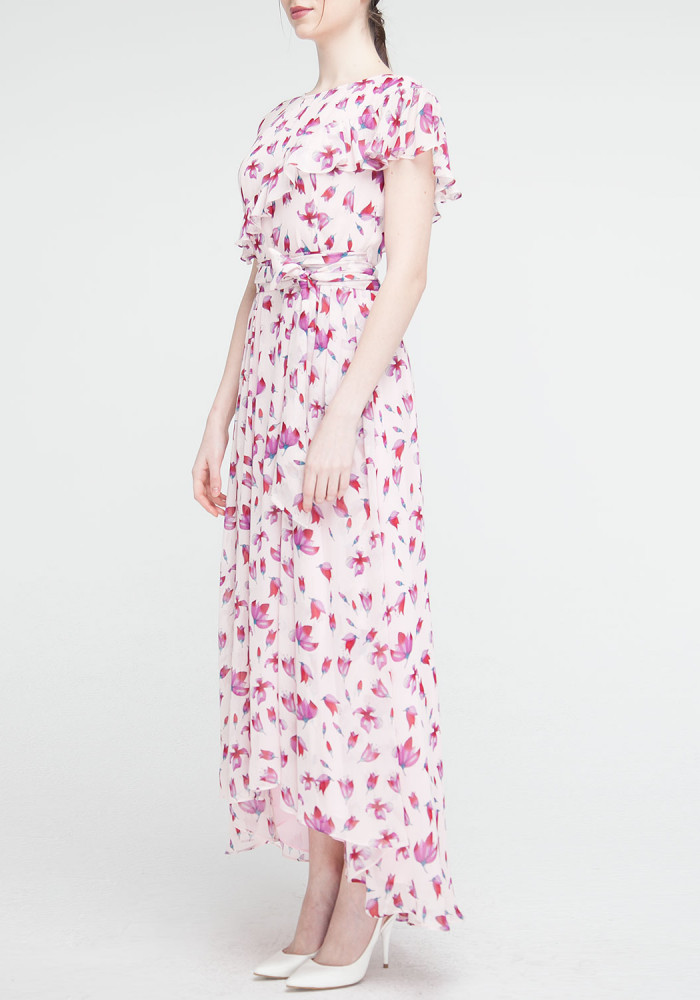 Long dress pink with floral print