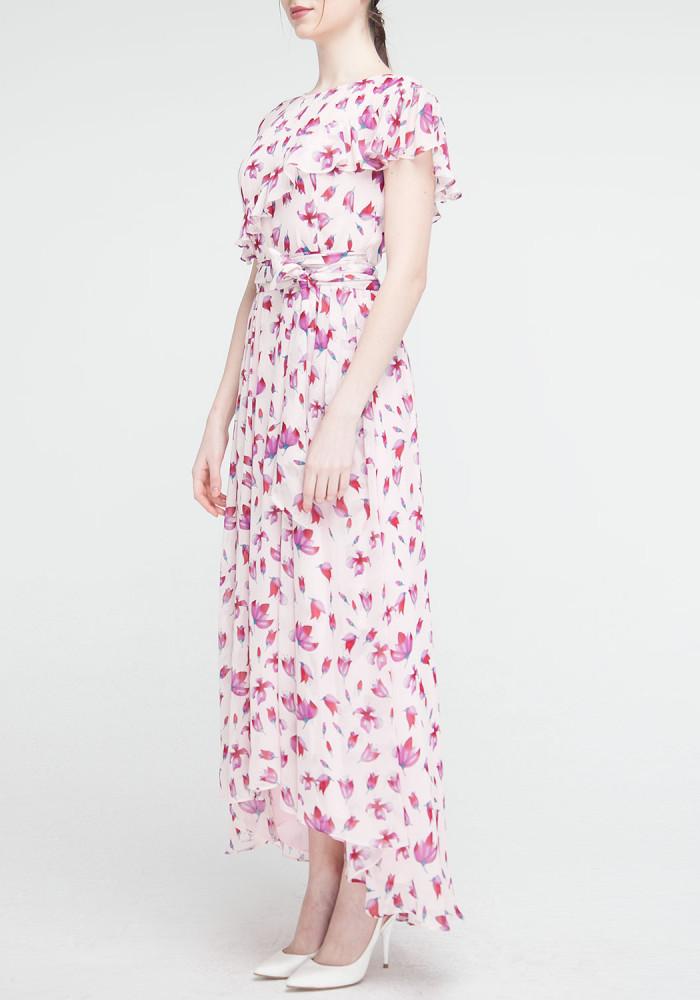 """Довга сукня рожева з квітковим принтом """"Венеція"""""""