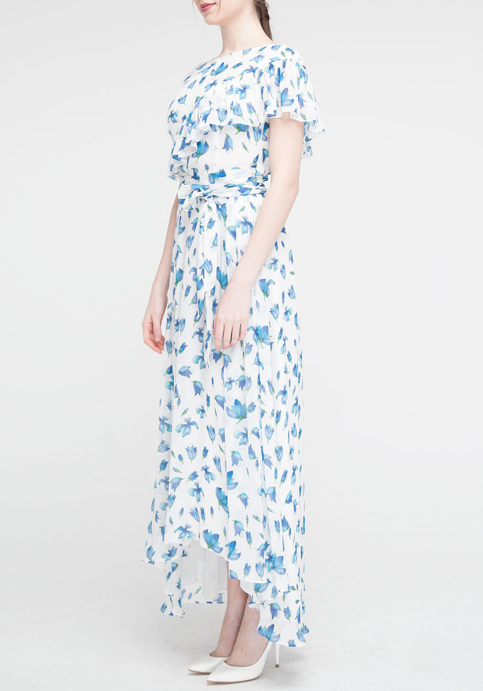 Long dress blue with a floral print