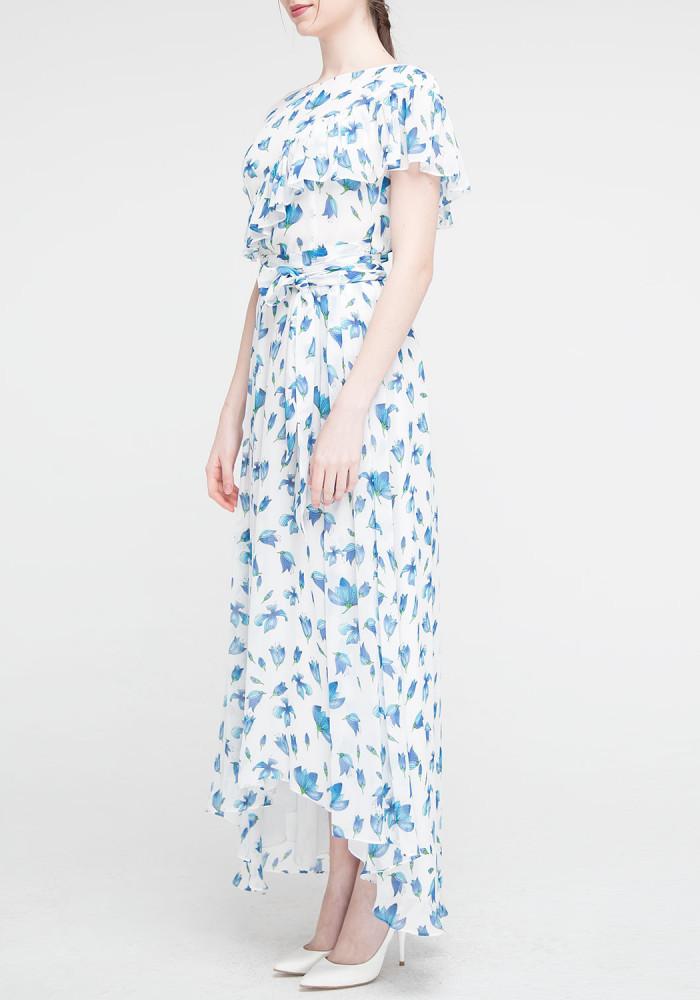 """Довга сукня блакитна з квітковим принтом """"Венеція"""""""