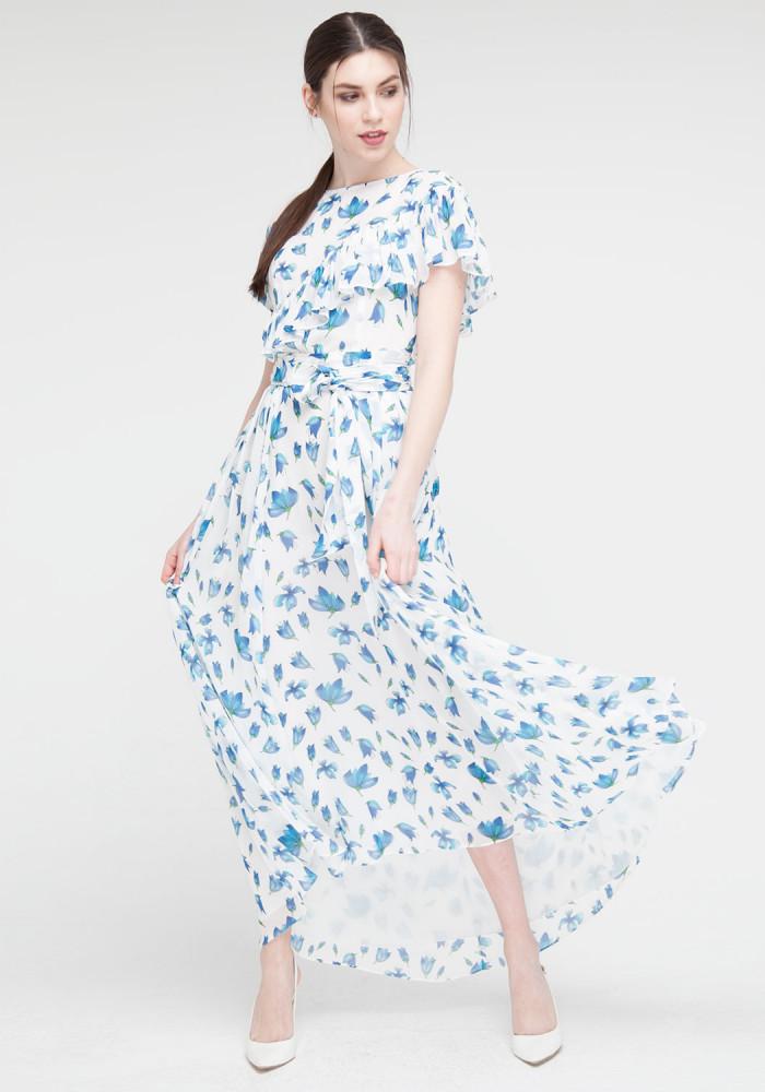 """Длинное платье голубое с цветочным принтом """"Венеция"""""""