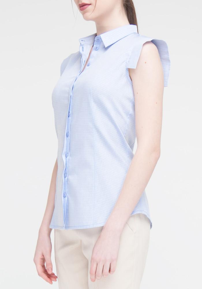 Blue Short Sleeve Blouse