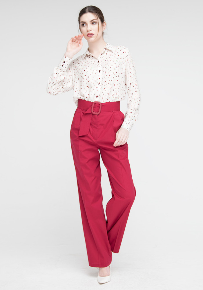 Burgundy wide trousers