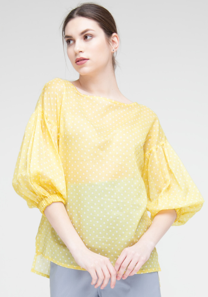 """Блуза жовтого кольору в білий горох """"Реус"""""""