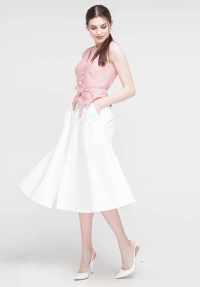 Midi skirt  white gloss Breeze