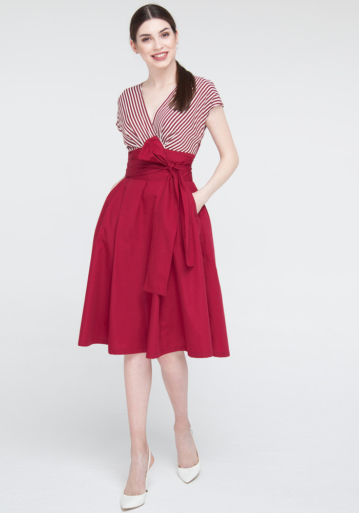 Burgundy Flared Dress Polli