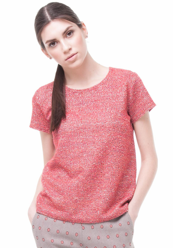Coral-colored fleecy top Feyt
