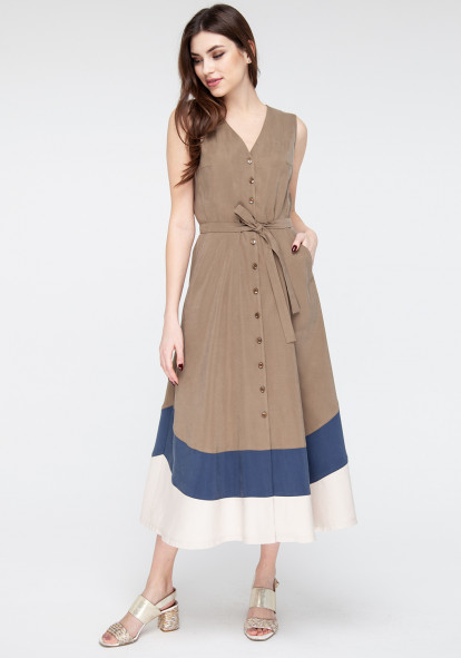Khaki Shirt Dress Glady