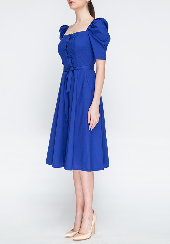 Cotton blue dress  with sleeves-lanterns Claris