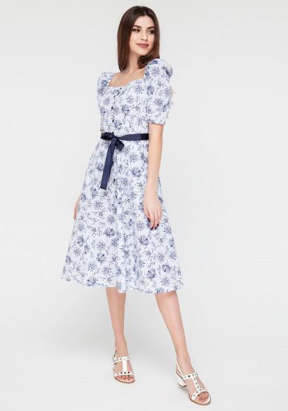 Cotton white dress with small print and ribbon belt Klaris