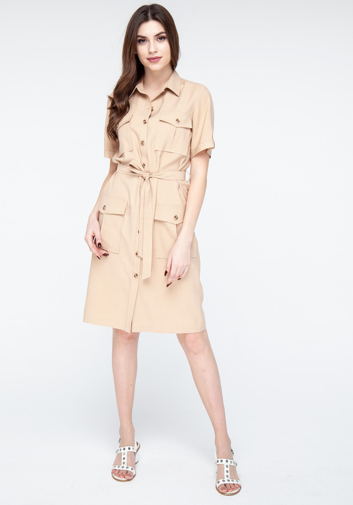 "Sand-colored shirt dress ""Buggy"""