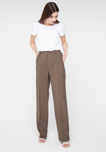 Wide leg trousers in khaki color Tanzania