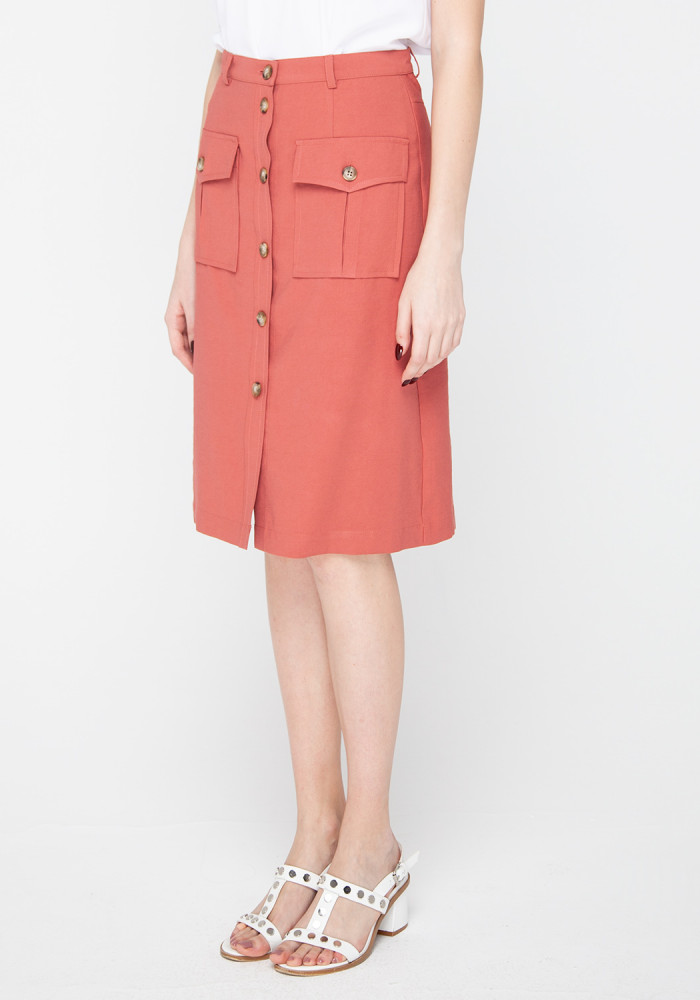 Skirt with patch pockets in мarsala Simba