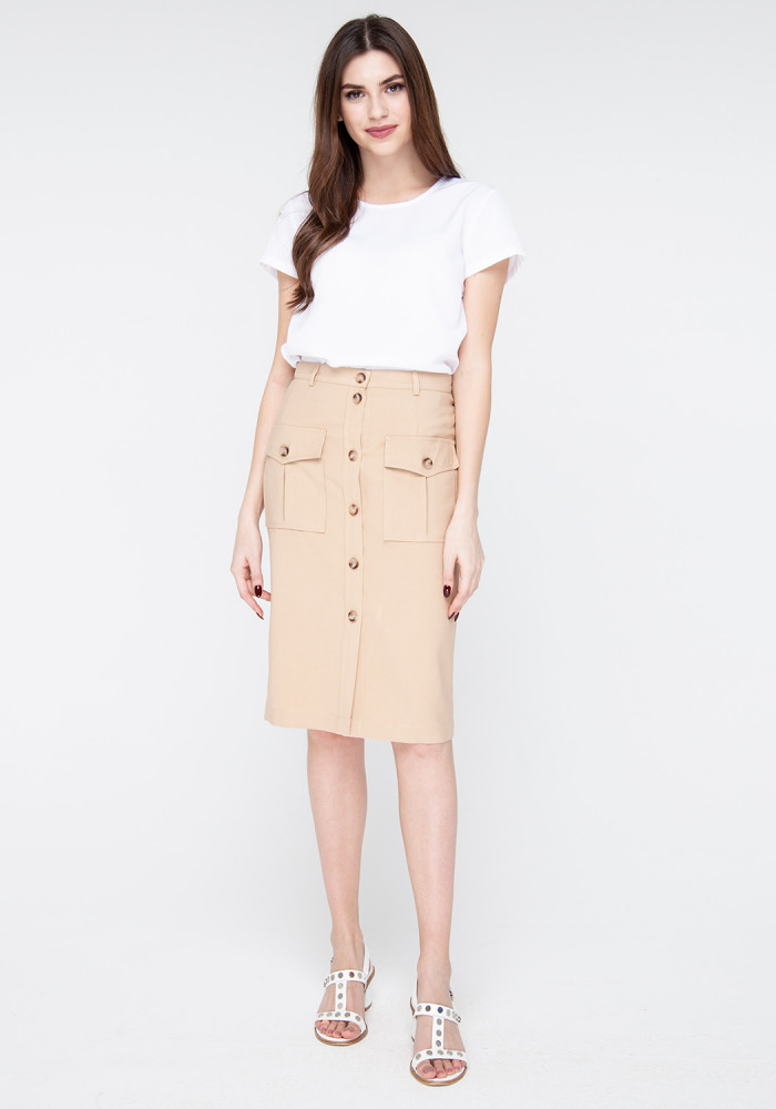 Straight skirt with sand-colored patch pockets Simba
