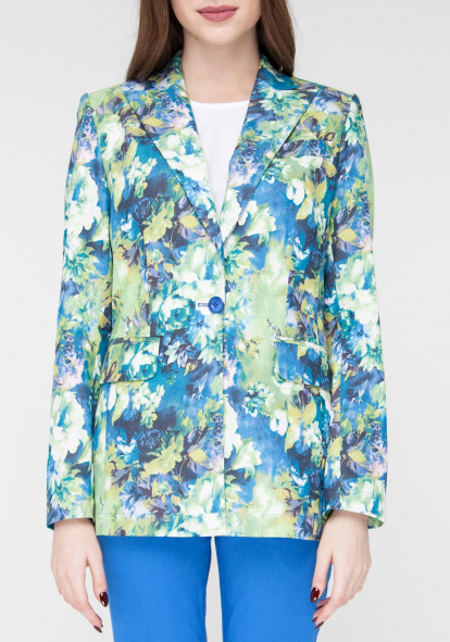 Straight long floral print jacket Kennedy