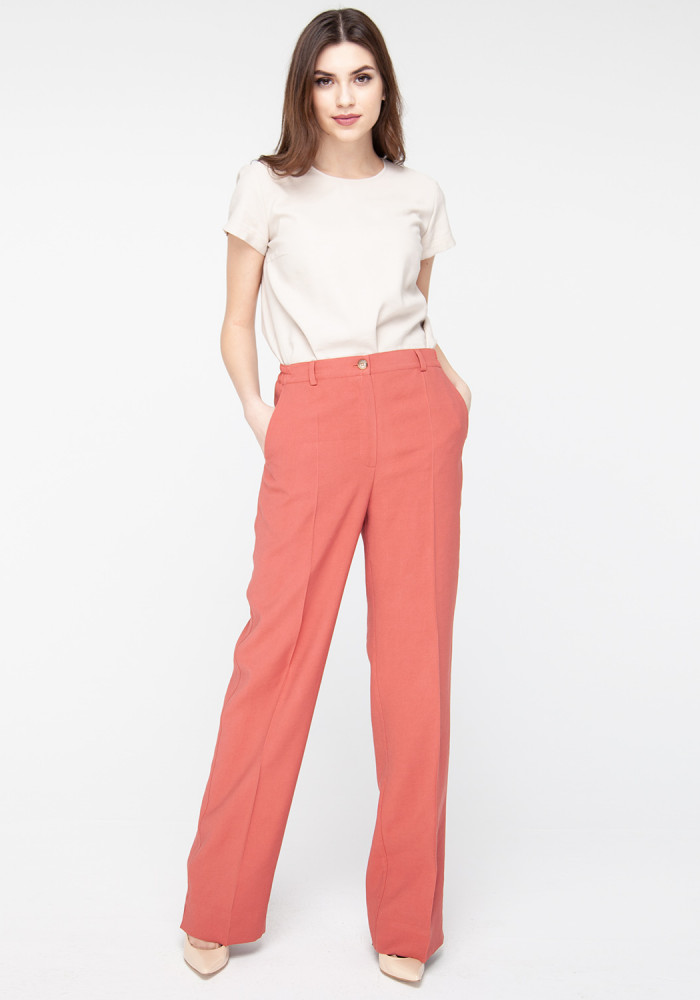 Wide trousers color Marsala