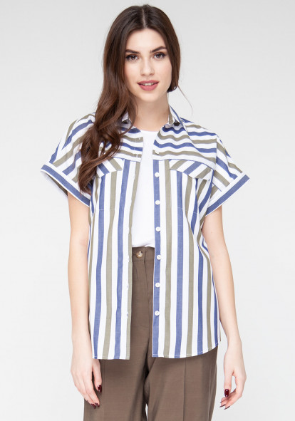Cotton blouse with stripes Kiara