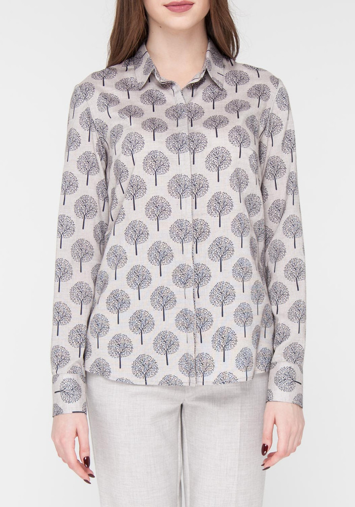 Printed Straight  Grey Blouse
