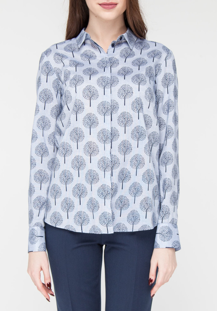 Printed Straight  Blue Blouse