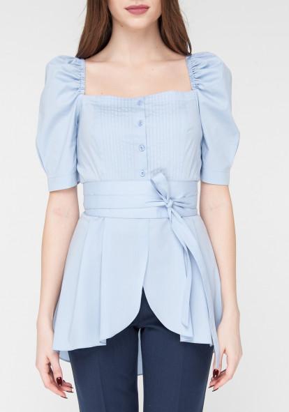 """Голубая хлопковая блуза с рукавами фонариками """"Орхи"""""""